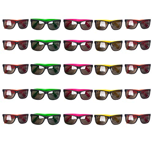 Tigerdoe Neon Sunglasses Party Favors - Set of 25 Plastic Neon Shades for Kids and Adults - 80's Party Accessories