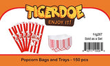 Carnival Party Supplies - 100 Popcorn Bags - 50 Paper Food Trays - Movie Night Party Supplies by Tigerdoe
