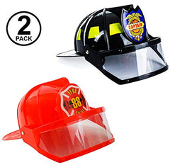 Tigerdoe Fireman Hat - Firefighter Hat & Fire Chief Hat - Fireman Costume Accessories - 2 Pack Fireman Helmet by (Black and Red)
