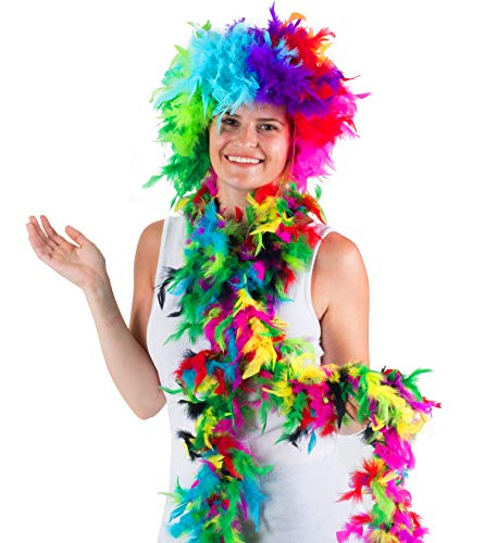 Tigerdoe Feather Wigs - 2 Pc Set - Rainbow Wig with Boa - Feather Costumes - LGBT Pride Accessories