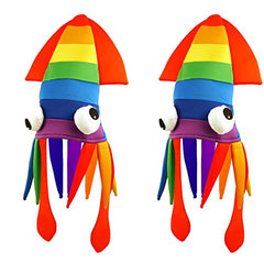 Tigerdoe Squid Hat - 2 Pack - Rainbow Squid Hat - Sea Animal Hat - Rainbow Costume Accessories - Crazy Hats