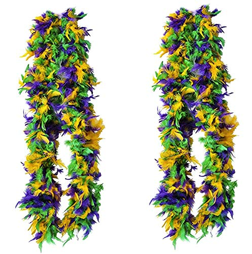 Tigerdoe Feather Boas - 2 Marabou Boas, Party Dressup Costume Accessories, 72 inch Long by (2 Pack Mardi Gras Boas)