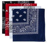 Bandanas for Men & Women ,Paisley Bandanas, 4 Pack, 100% Cotton Bandanna by Tigerdoe, assorted colors