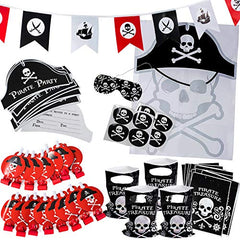Pirate Party Supplies for kids Birthday - Set for 16 Guests - Pirate Party Decorations - Pirate Party Favors - Pirate Party Decorations by Tigerdoe