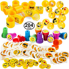 Tigerdoe Emoticon Party Favors - Prizes for Kids - Emoticon Party Supplies - Goody Bag Filler (204 Pc Party Favors)