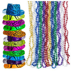 Party Favors - Neon Party Hats w/ Bead Necklaces (Total 48 PC) - Party Supplies by Tigerdoe