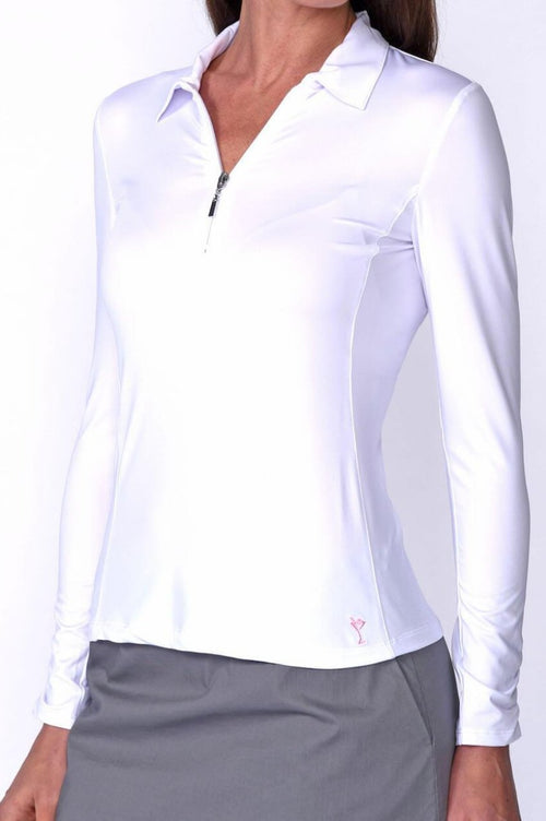Women's Long Sleeve Zip Tech Polo - White