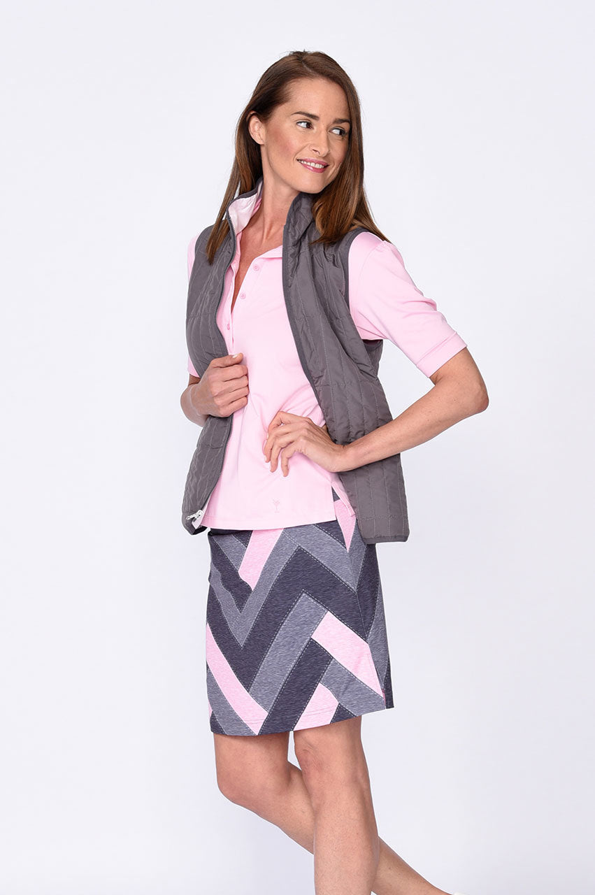 Reversible Wind Vest - Grey / Light Pink