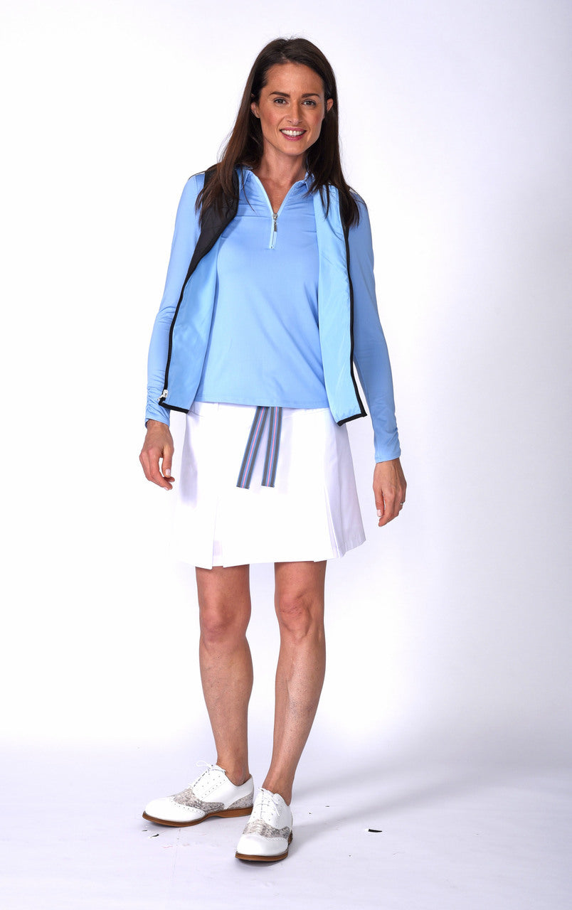 Women's Long Sleeve Zip Tech Polo - Light Blue