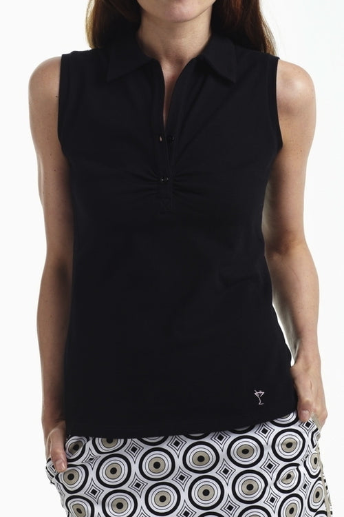 Women's Sleeveless Stretch Cotton Button Polo - Black