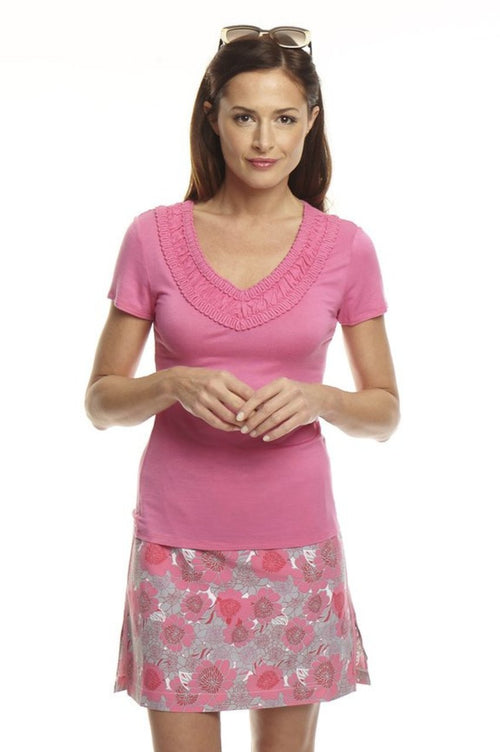 Women's Embroidered V-Neck Tee - Pink
