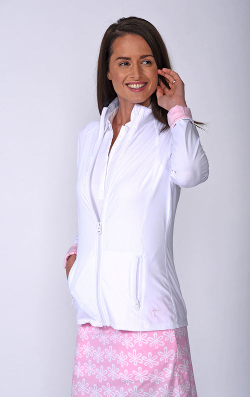 Women's GT Tech Jacket- White with Light Pink