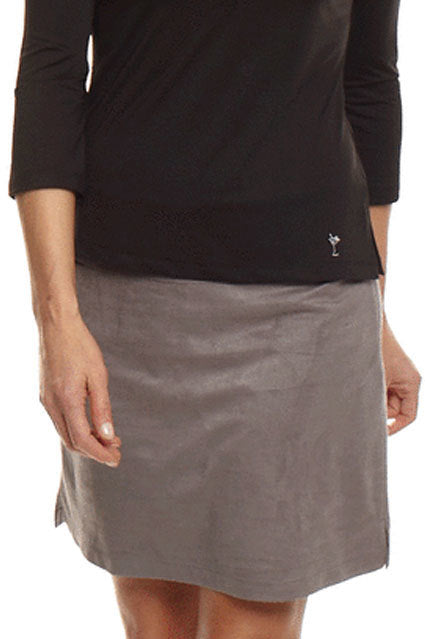 Women's Bar-Fly Grey Washable Ultrasuede Skort