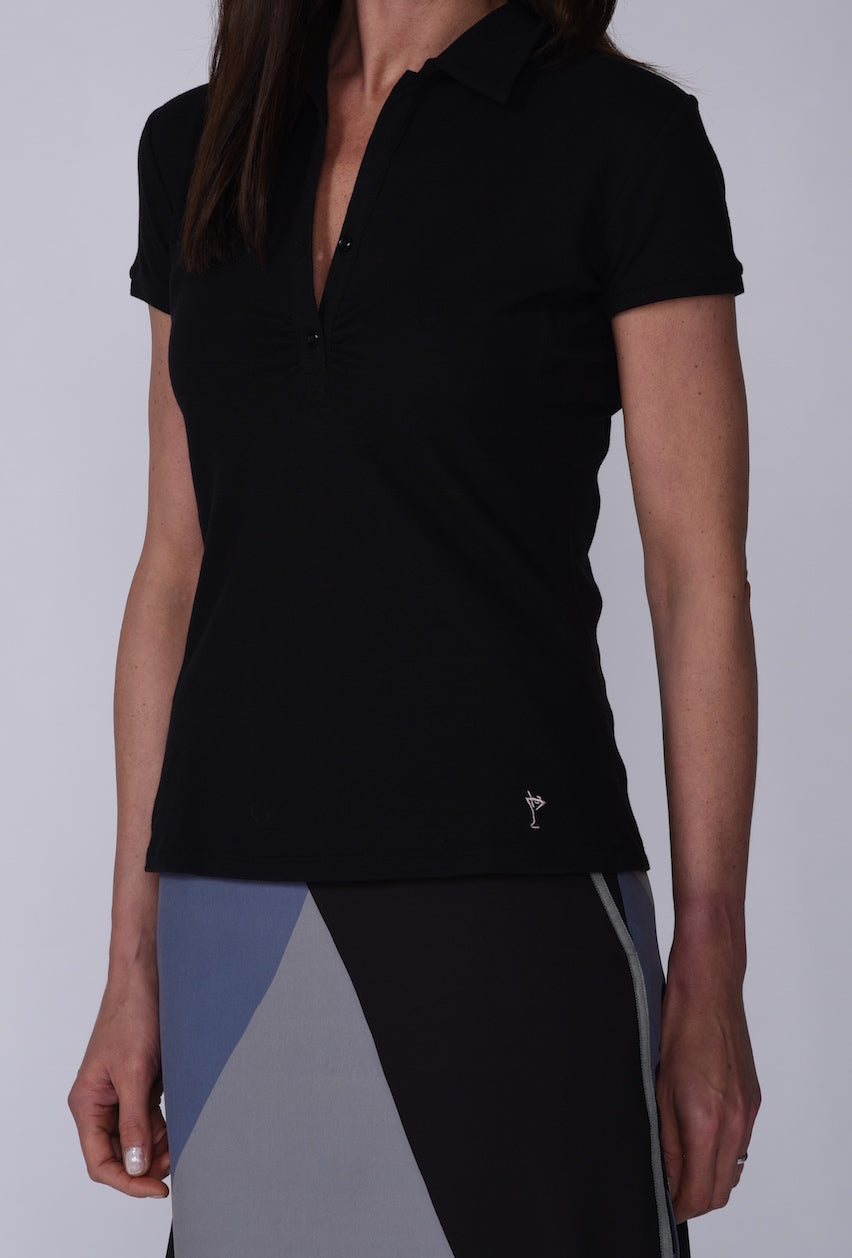 Women's Short Sleeve Stretch Cotton Button Polo - Black
