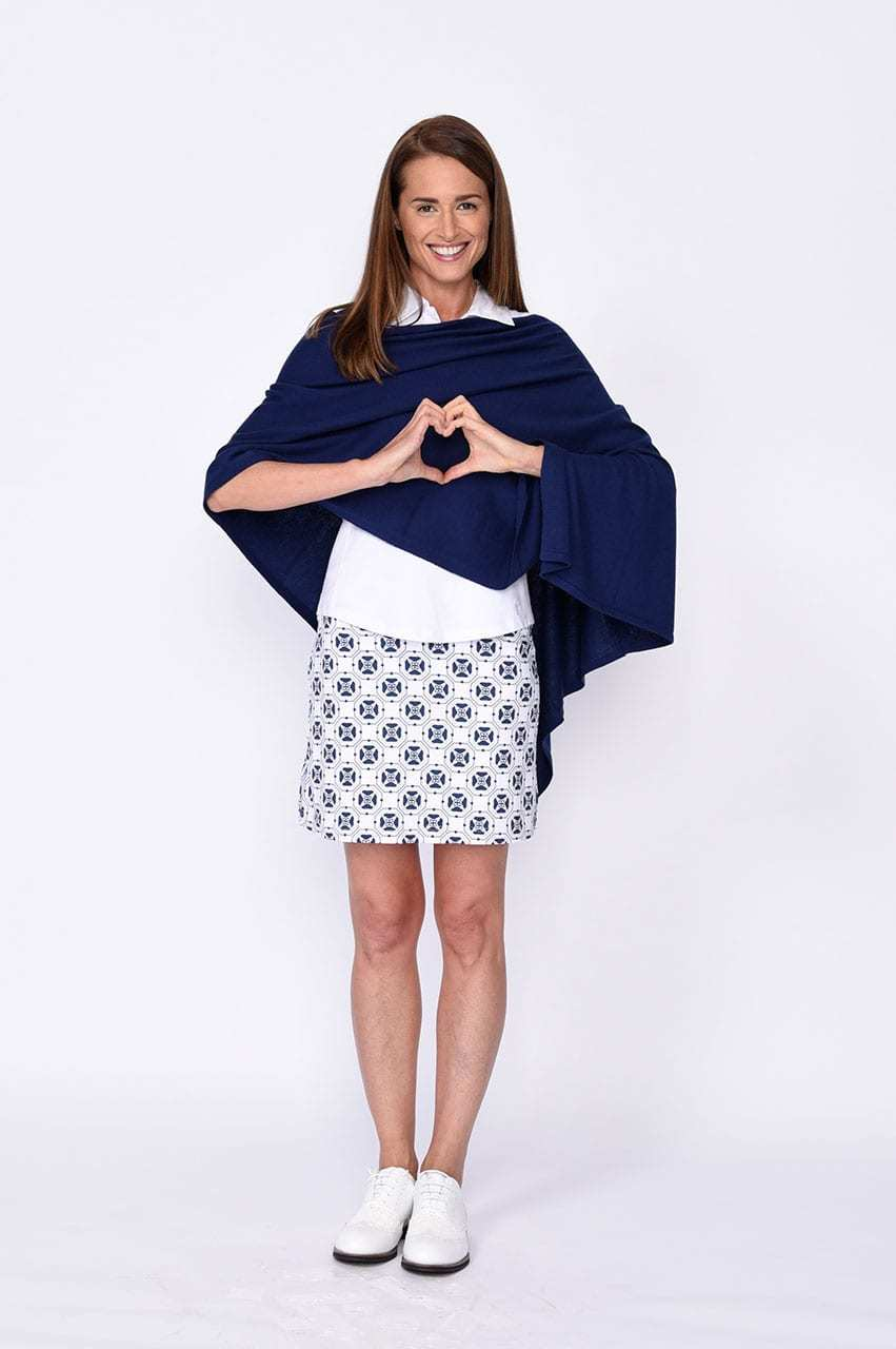 Online Exclusive! Cotton Cashmere Poncho - Navy