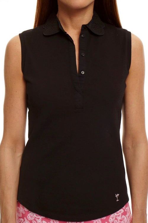 Women's Sleeveless Eyelet Stretch Cotton Polo - Black