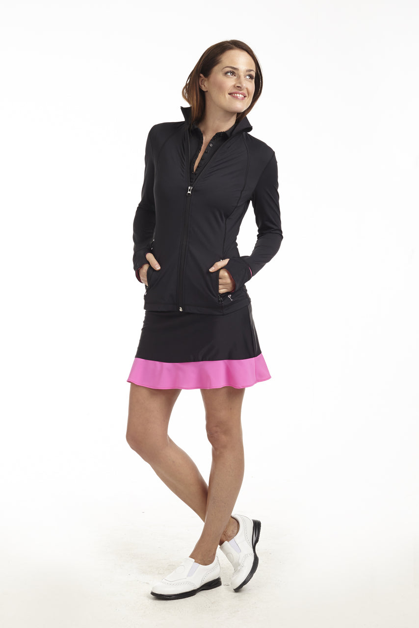 Women's GT Tech Pull-On Skort - Black with Hot Pink