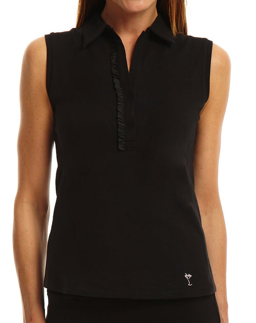 Women's Sleeveless Stretch Cotton Ruffle Polo | More Colors Available