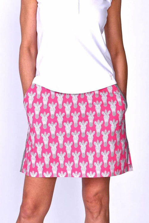 Women's Animal Print Zebra Stretch Cotton Skort (Comes in 2 Lengths)