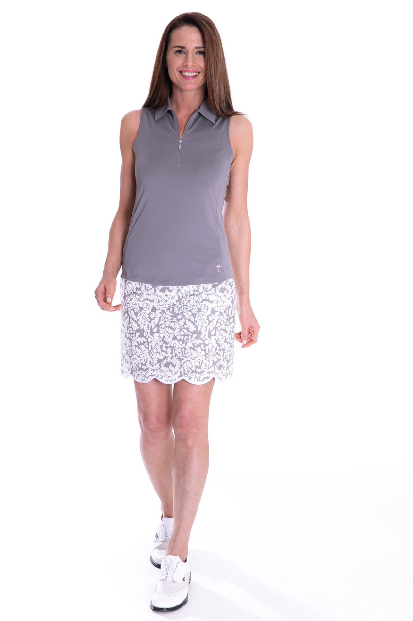 Iconic Grey Stretch Cotton Skort | Dreamer | Available in 2 Lengths