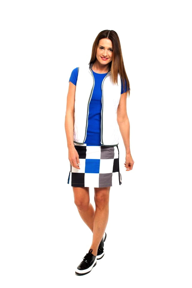 Women's Hollywood Squares Stretch Cotton Skort