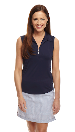 Women's Sleeveless Zip Tech Polo - Navy