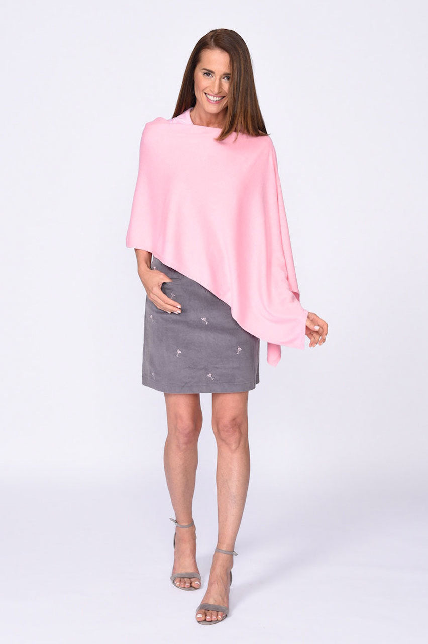 Online Exclusive! Cotton Cashmere Poncho - Light Pink