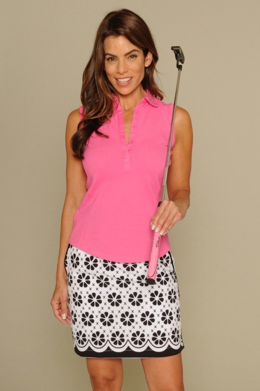 Women's Sleeveless Eyelet Stretch Cotton Polo - Hot Pink