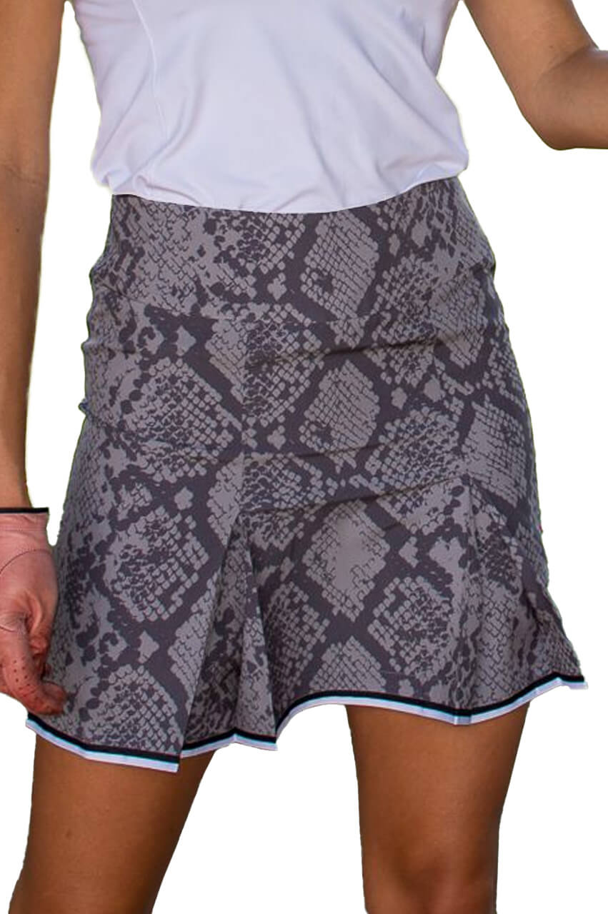 Grey Snakeskin Stretch Performance Skort | 5 Star