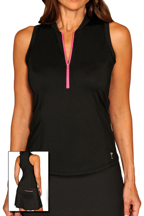 Women's Racerback Tech Top - Black with Hot Pink Zipper