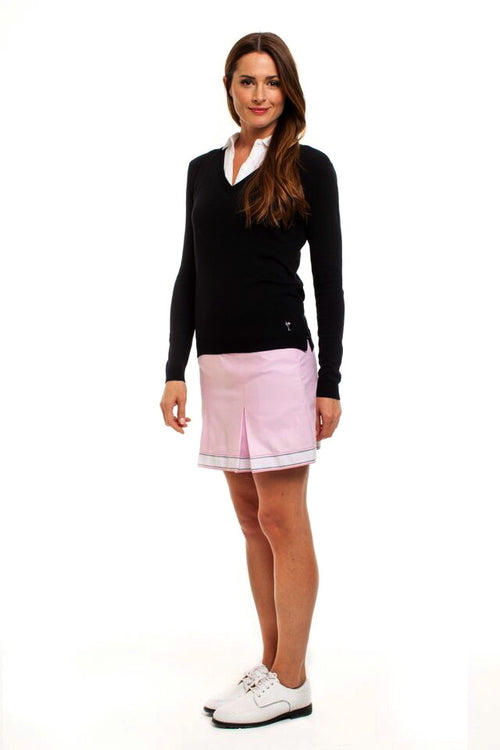 Women's Cameo Pink Cotton Pleated Skort