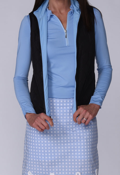 Women's Reversible Wind Vest - Black / Light Blue