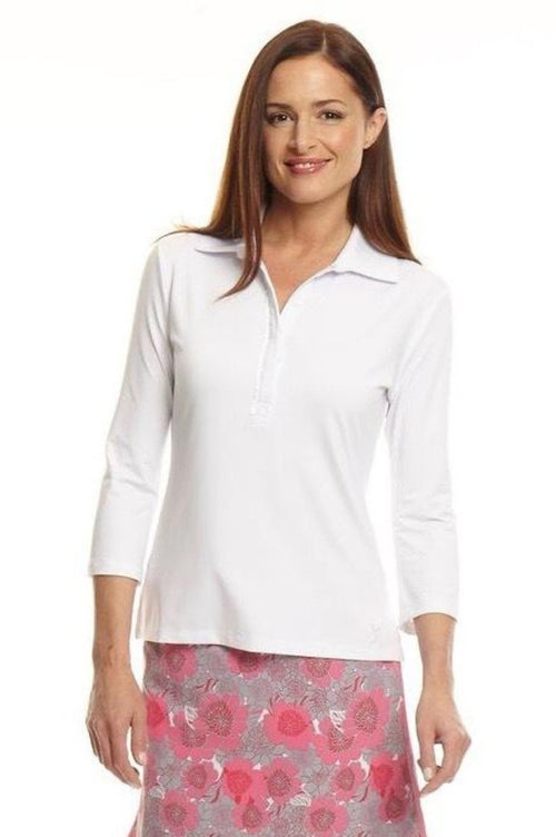 Women's 3/4 Ruffle Tech Polo - White