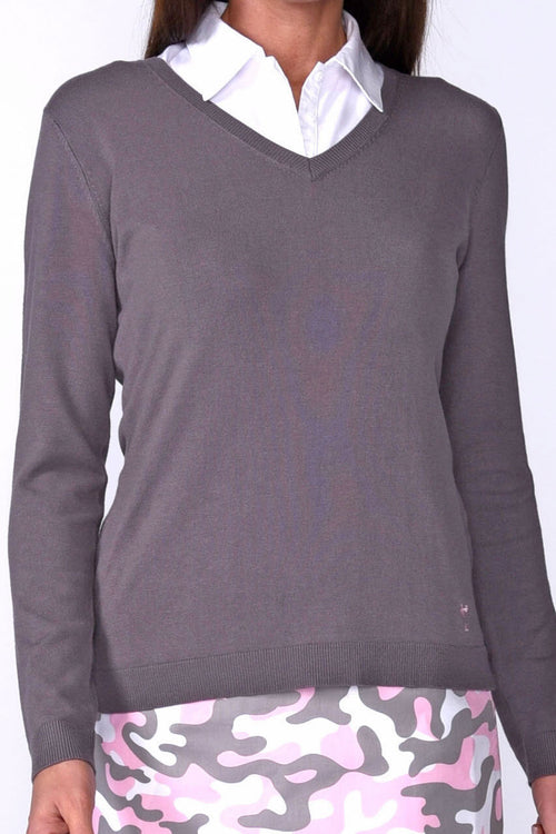 Women's Long Sleeve V-Neck Sweater - Grey