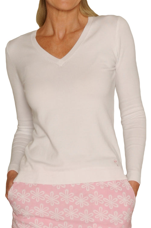 Women's Long Sleeve V-Neck Sweater - Ivory