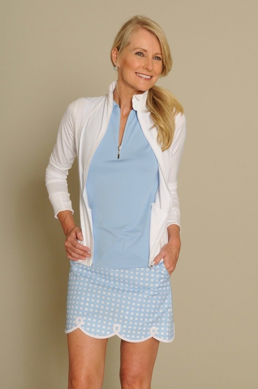 Women's Shirley Temple Blue Stretch Cotton Skort (Comes in 2 Lengths)