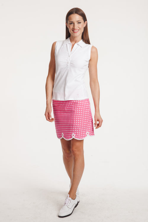 Women's Sleeveless Stretch Cotton Button Polo - White