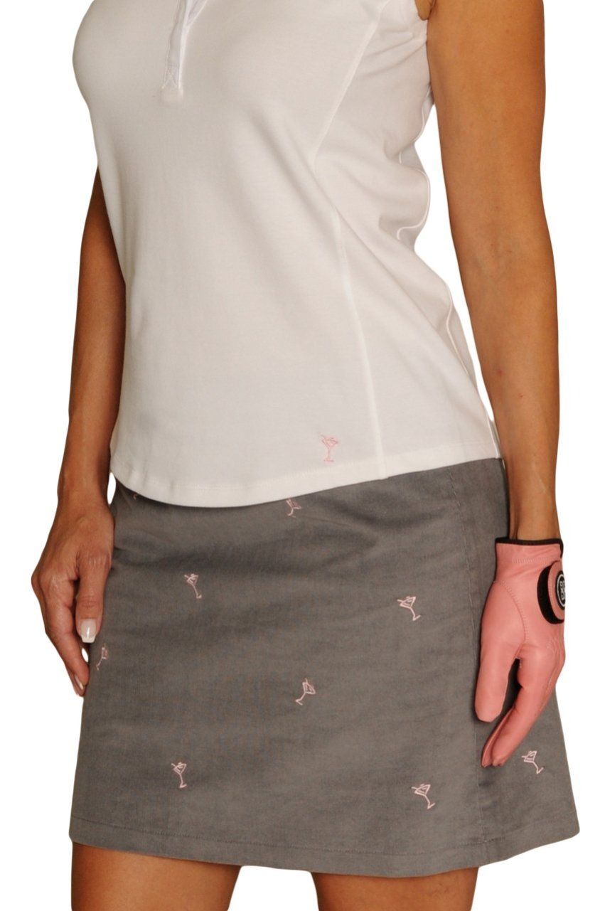 Women's Vegas Grey Martini Print Stretch Corduroy Skort