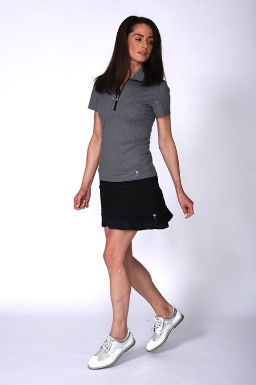 Women's Short Sleeve Zip Tech Polo - Heather Grey
