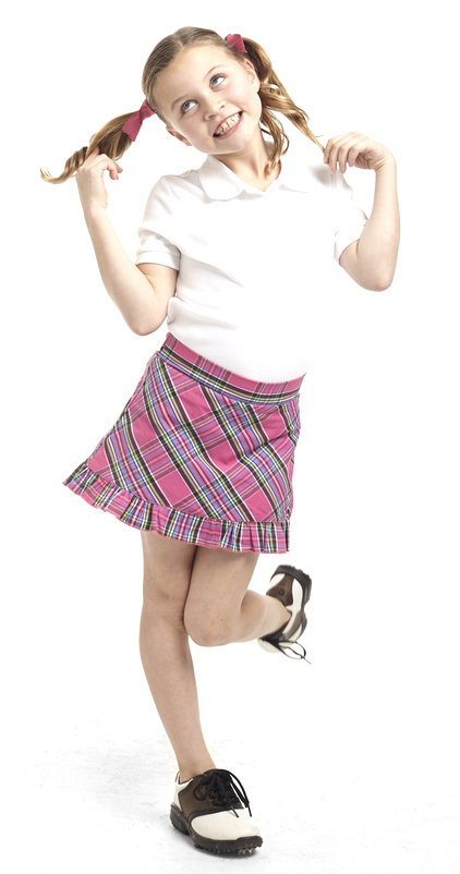 Women's Golftini Girl Pink Plaid Junior Skort