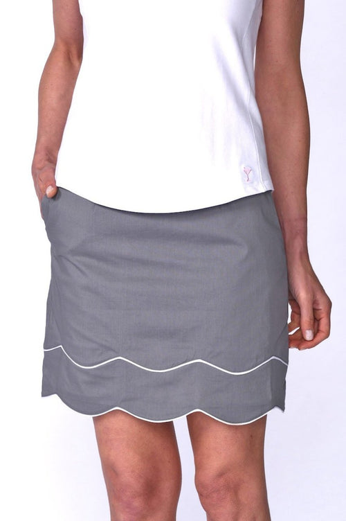 Truth or Dare Grey & White Stretch Cotton Skort (Comes in 2 Lengths)