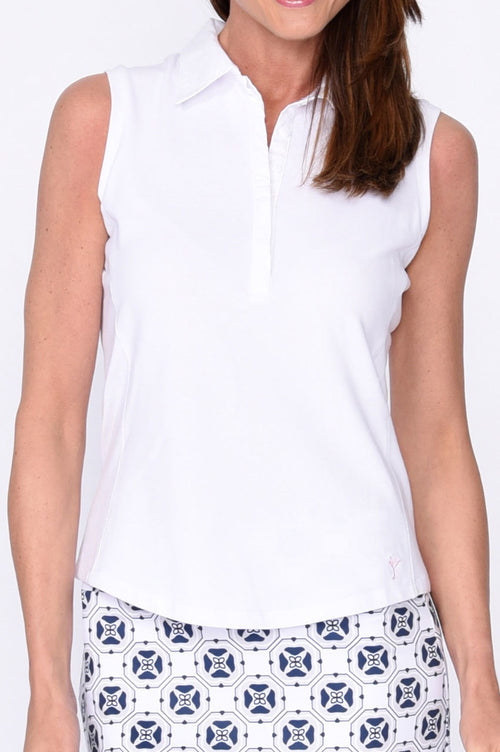 Sleeveless Contrast Tech Polo - White