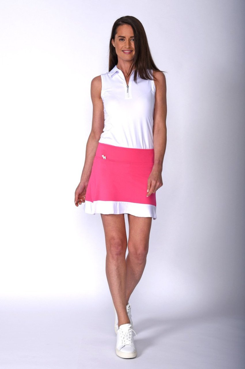 Women's Sandy Lane Hot Pink & White Pull-On Ruffle Tech Skort