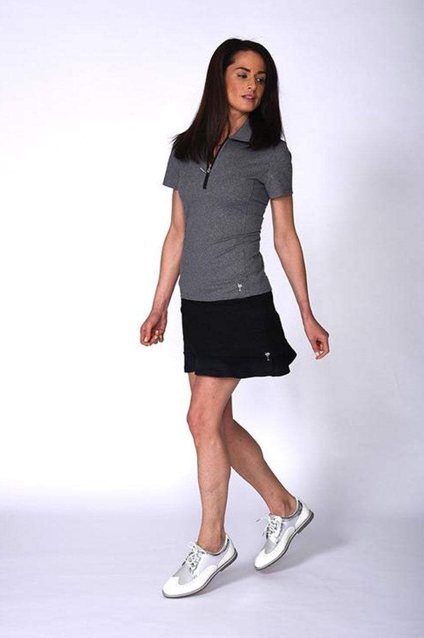 Black Pull-On Ruffle Tech Skort with Martini Logo