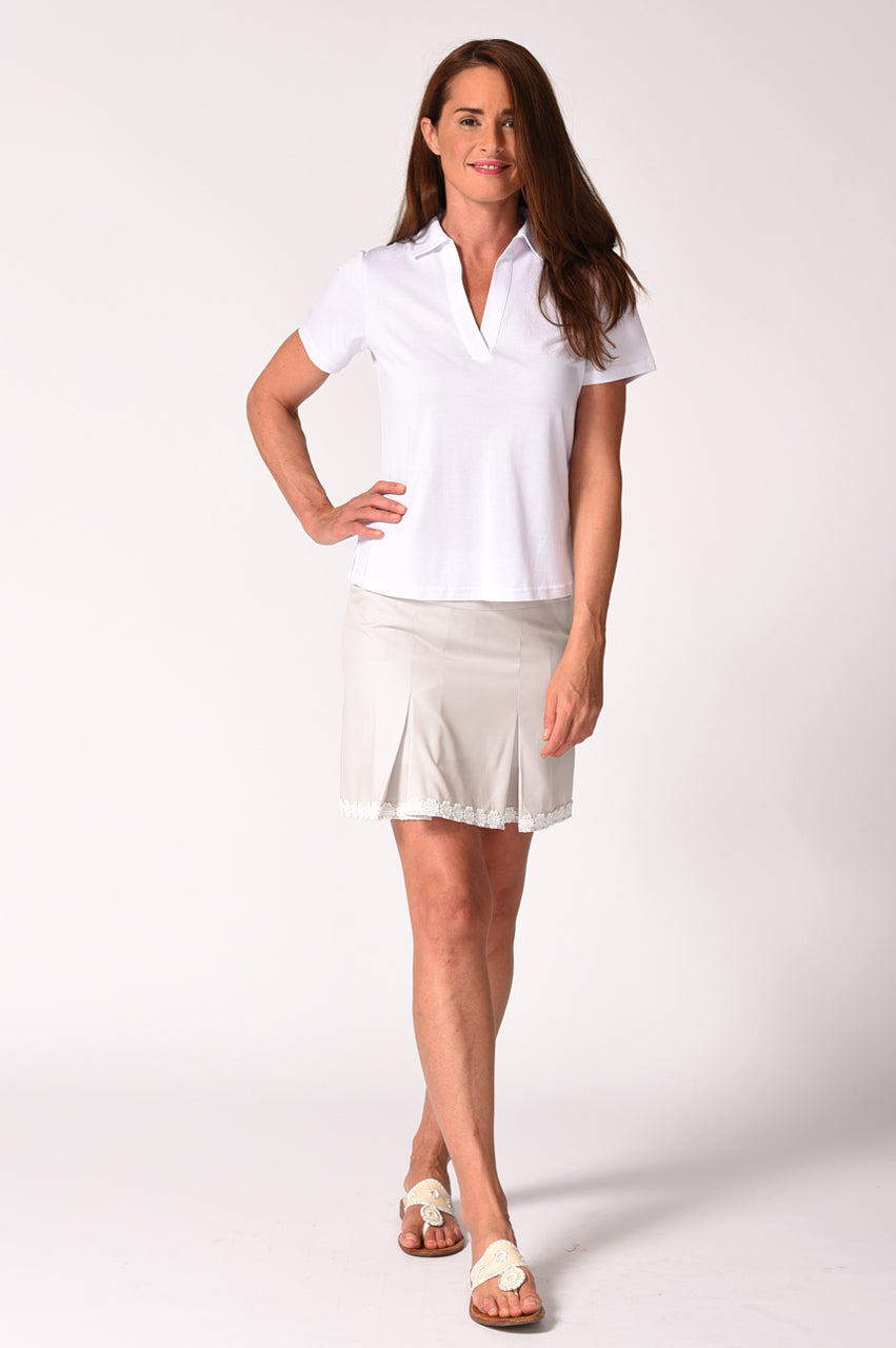 Khaki Pleat Performance Stretch Skort | Badminton