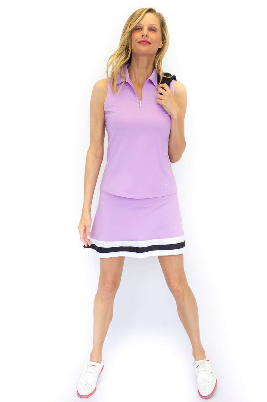 Lavender Sleeveless Zip Stretch Polo