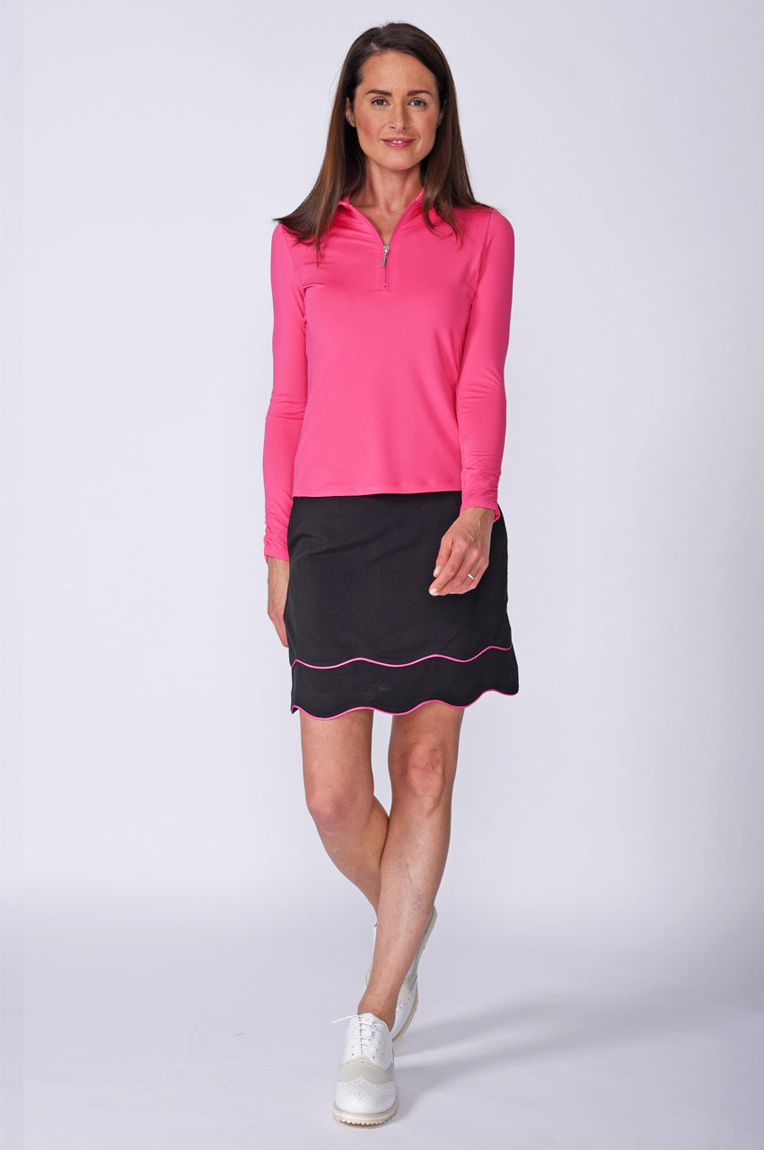 Long Sleeve Zip Tech Polo - Hot Pink