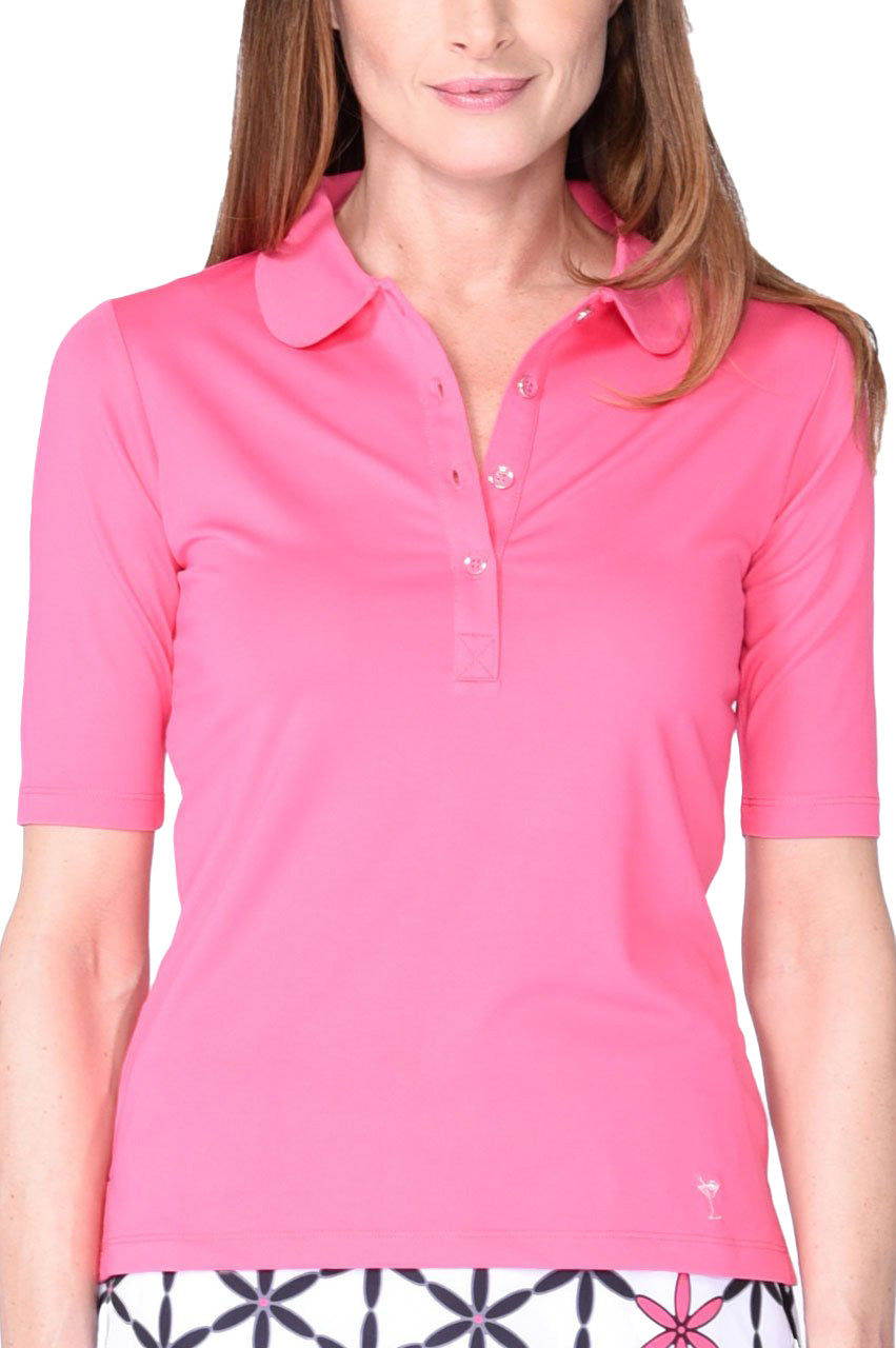 Hot Pink Elbow Fashion Stretch Top