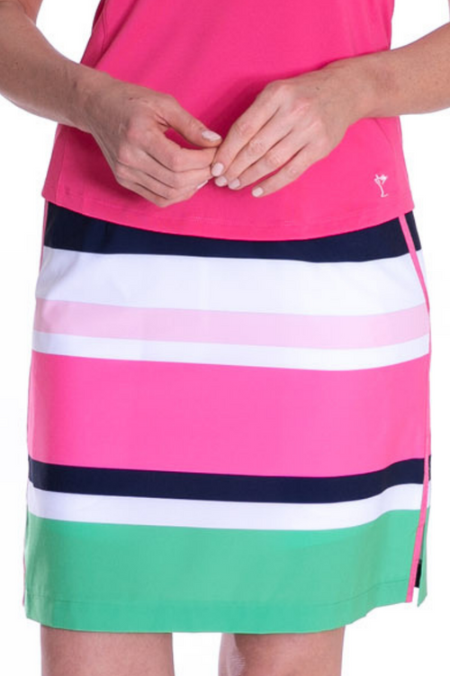 Multicolor Striped Performance Stretch Skort | Jet Setter | Available in 2 Lengths