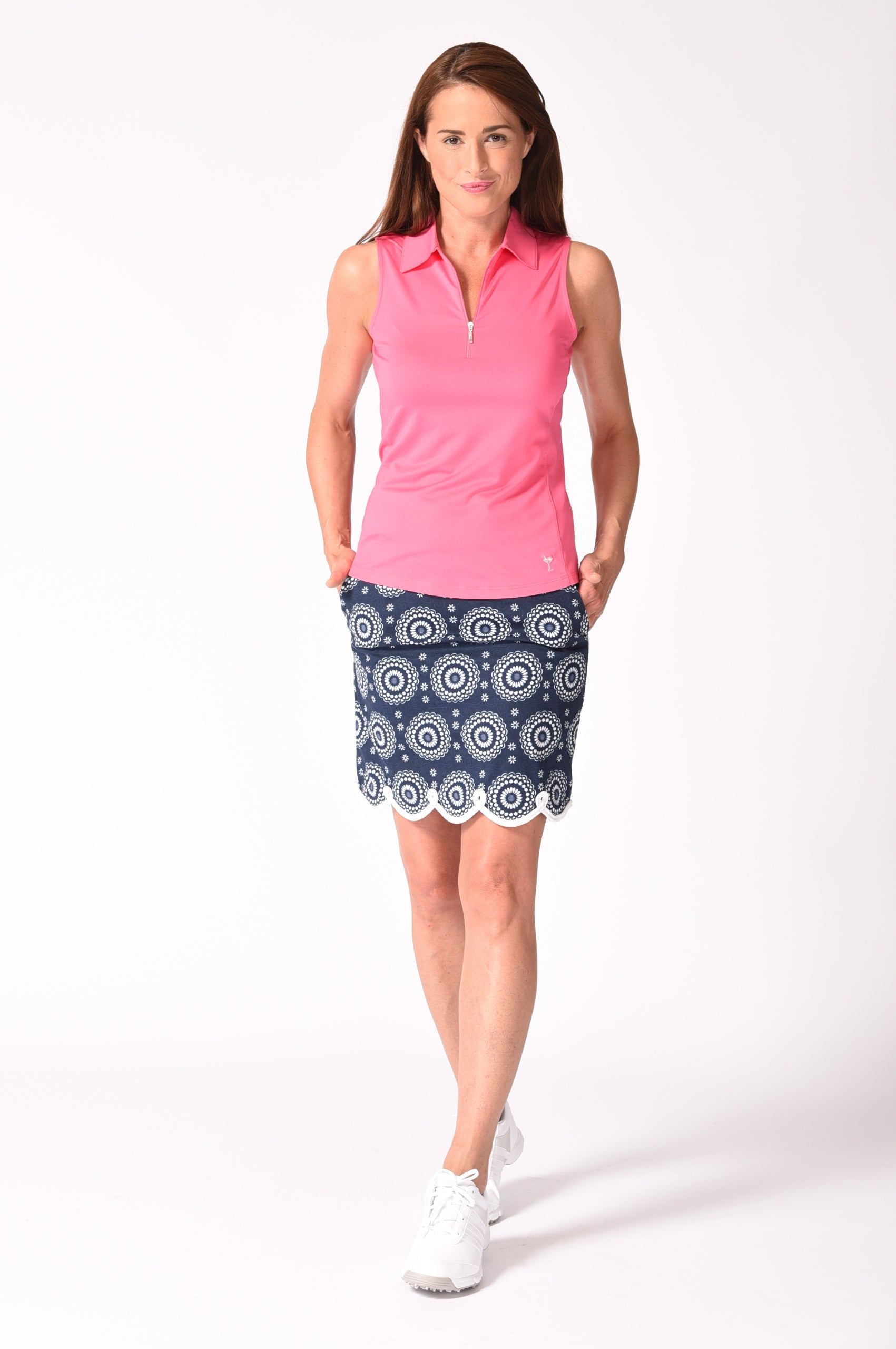 Navy Medallion Stretch Cotton Skort | Jump Rope | Available in 2 Lengths